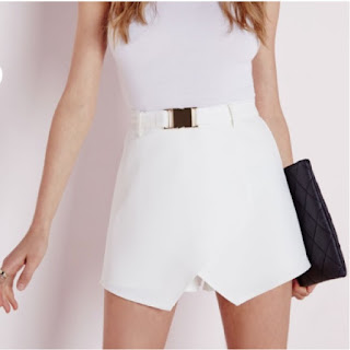 MissGuided gold buckle detail white skort