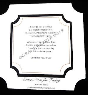 Bruce Day poem by Grace Baxter, ©copyright 2015
