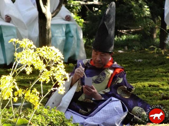 Poète de l'époque Heian qui compose au temple jonangu Kyoto