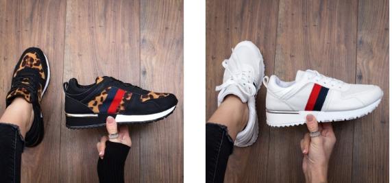 Pantofi sport animal print, albi de femei piele eco intoara ieftini