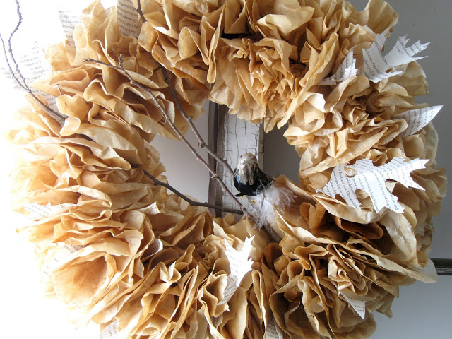 Fall Coffee Filter Wreath with book pages