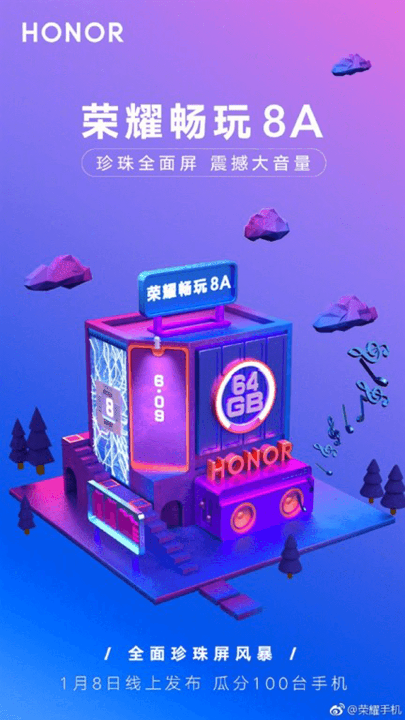 Honor 8A teased, will come with a waterdrop notch!