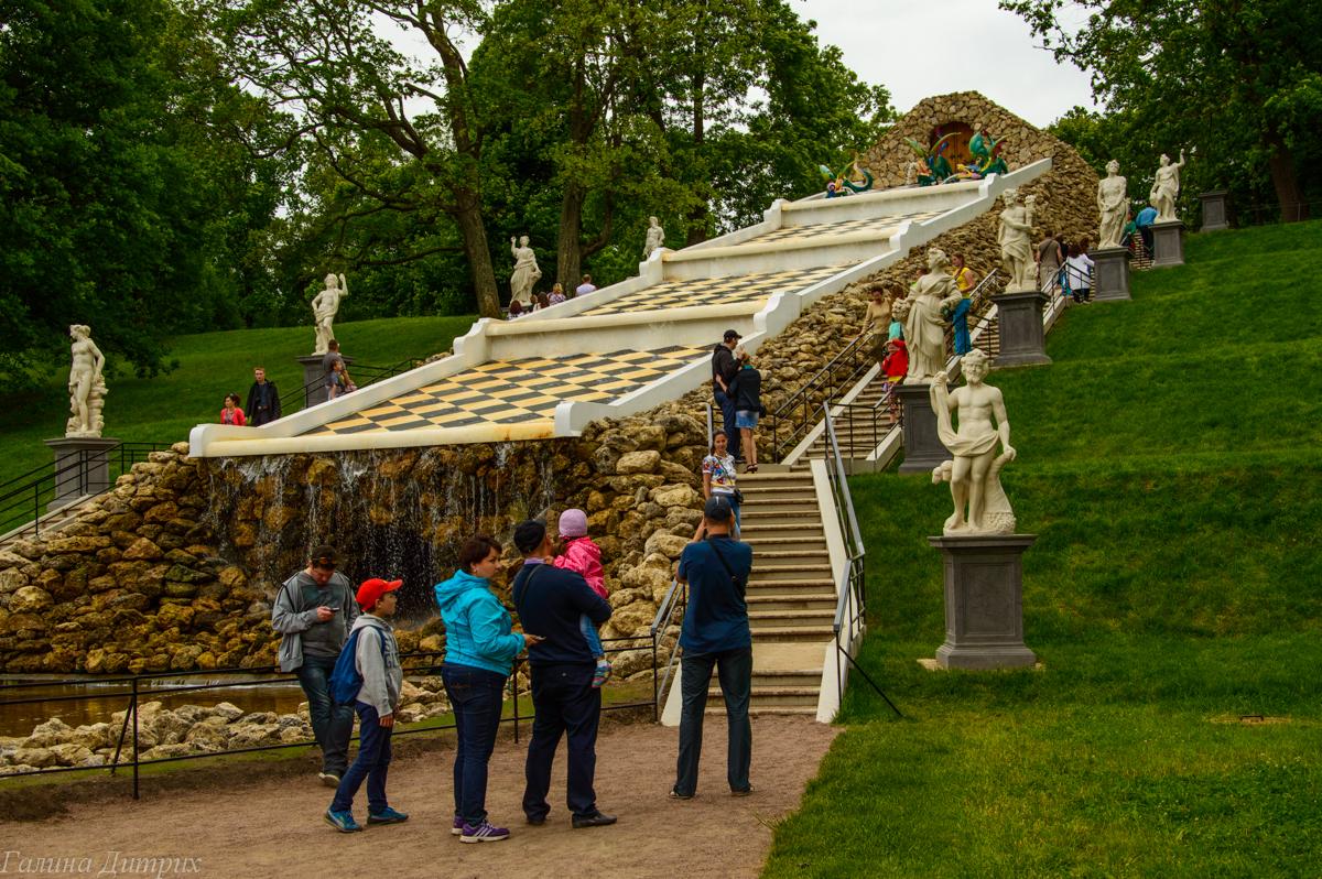 Лестница фонтанов в Нижнем парке Петергофа фото