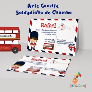 Arte convite soldadinho chumbo