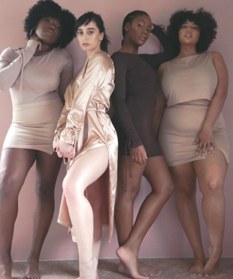 Plus Size Curvy Model Neutral Bodycon Dresses and Dusters from Nadia Aboulhosn Collection