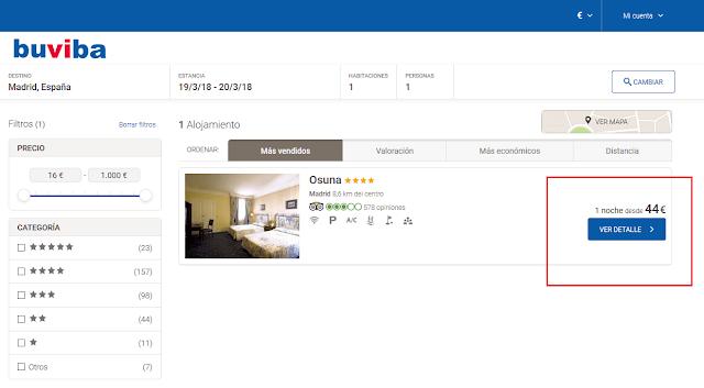 Total precio hotel Osuna en buviba
