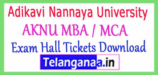Adikavi Nannaya University AKNU MBA / MCA  Exam Hall Tickets Download