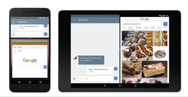 Android 7.0 multi window display