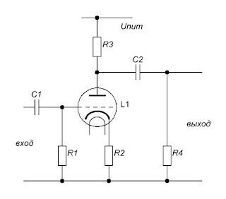 Ламповый каскад с резистивной нагрузкой