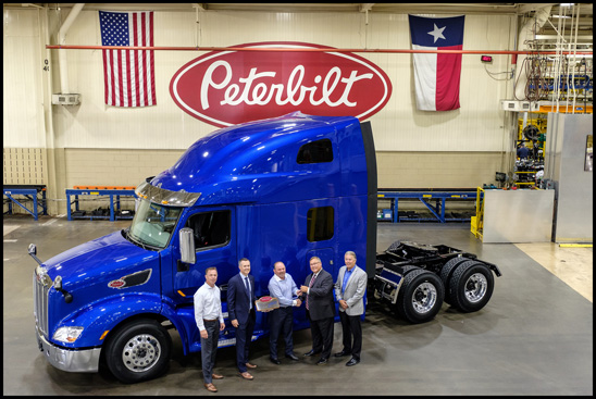 David Freymiller receives the keys to the first Peterbilt Model 579 UltraLoft