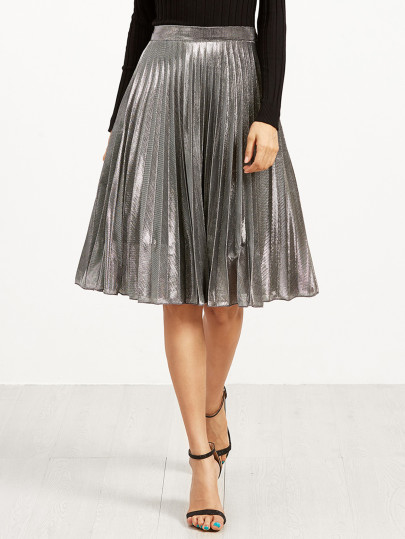 Metallic,  trend,  midi skirt
