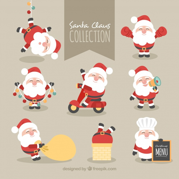 Collection of lovely character of santa claus Free Vector