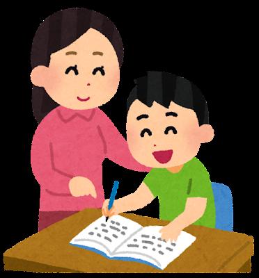 勉強を教えるお母さんと教わる男の子