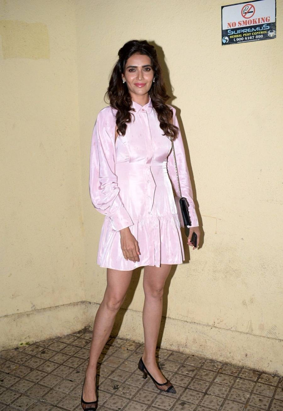 Glamorous Indian Girl Karishma Tanna In Mini Pink Skirt