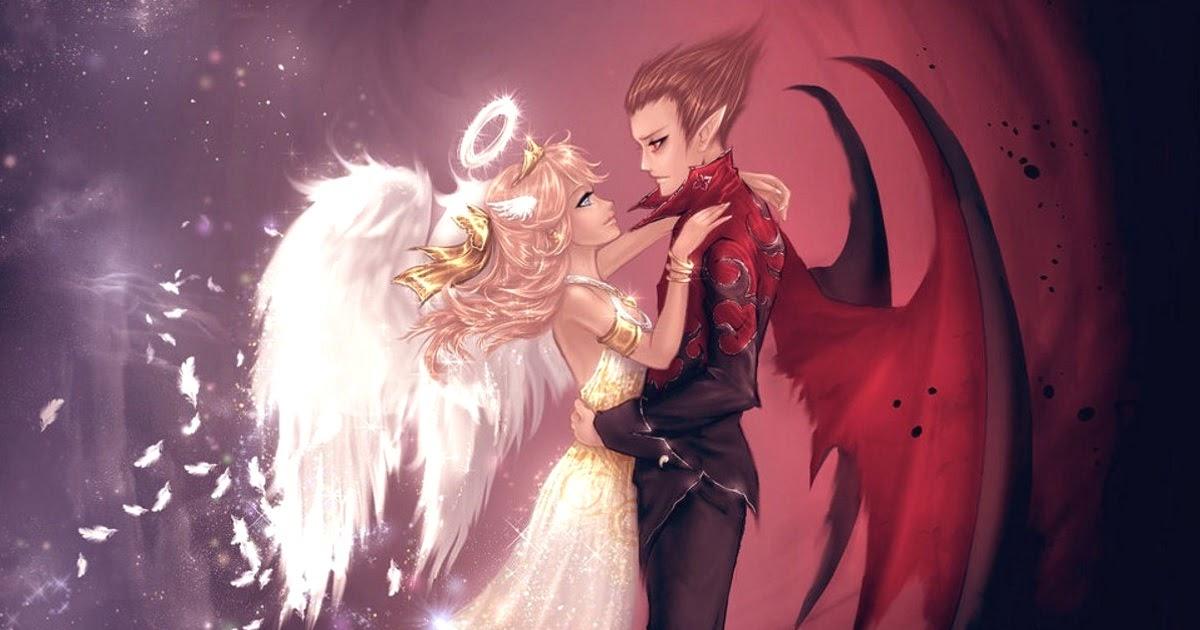 Ангел и демон поцелуй картинки