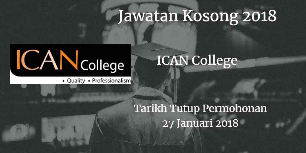 Jawatan Kosong ICAN College 27 Januari 2018