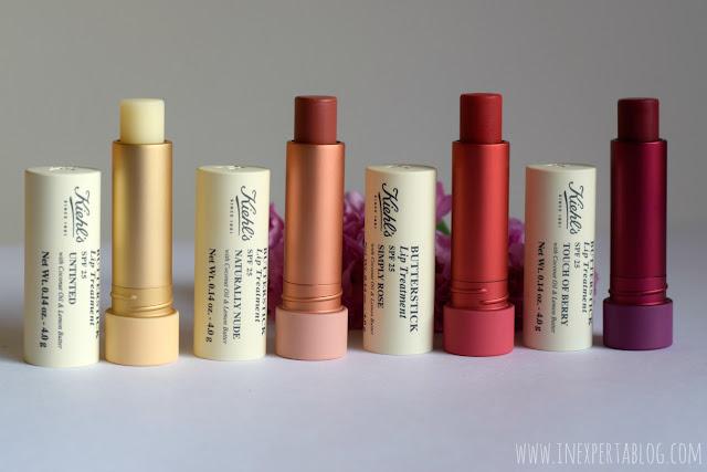 nuevo lip balm Kiehl's butterstick protección solar bálsamo de labios swatches tonos