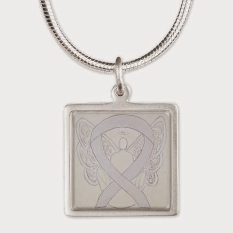 Pearl White Guardian Angel Awareness Ribbon Charm Necklace Picture Image