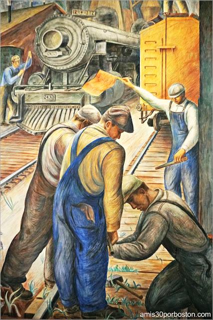 "Mural ""Railroad"" de William Hesthal en la Torre Coit de San Francisco"