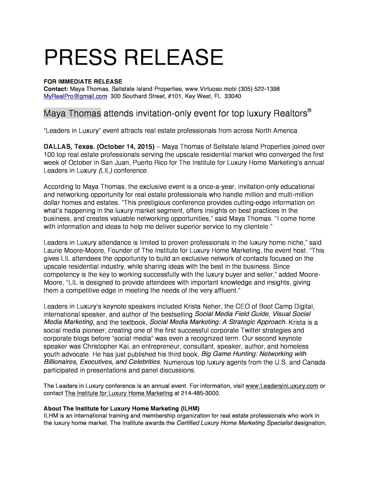 Maya Thomas Real Estate Broker Luxury Home Marketing Press Release Leaders  In Luxury
