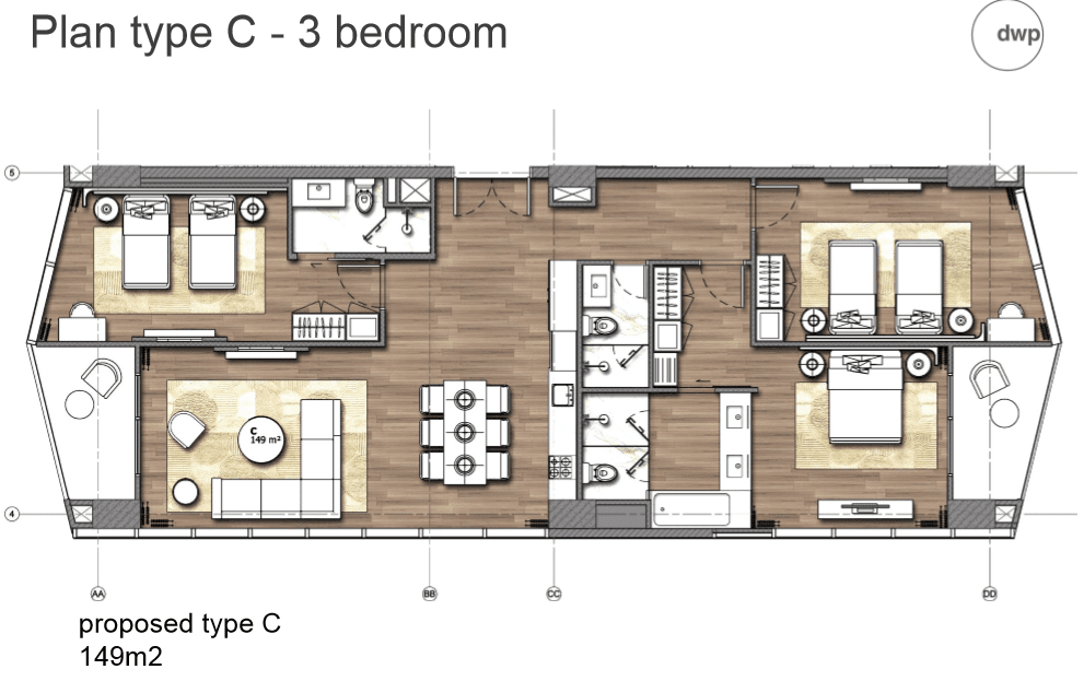 Plan type C - 3 Bedroom