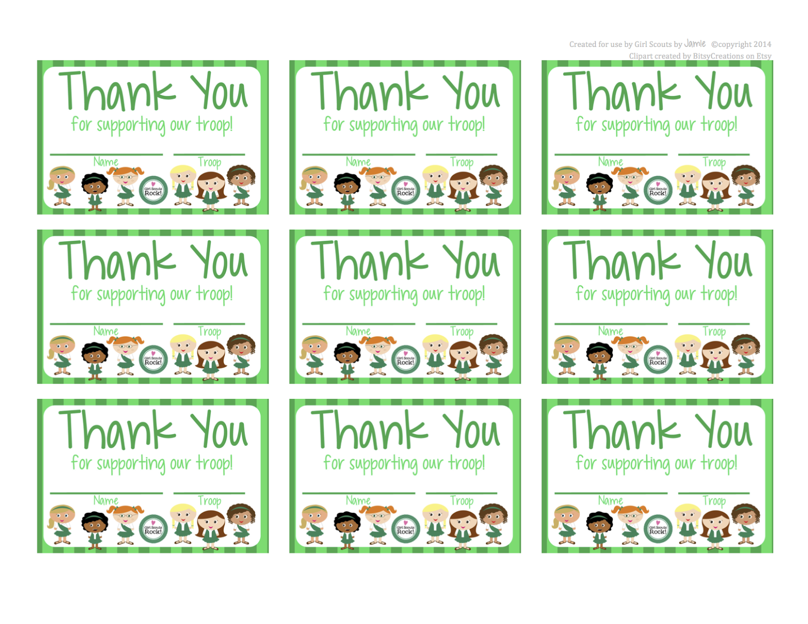 image regarding Free Printable Thank You Cards for Students identify My Present day Programs: Female Scouts - Free of charge Printable Thank