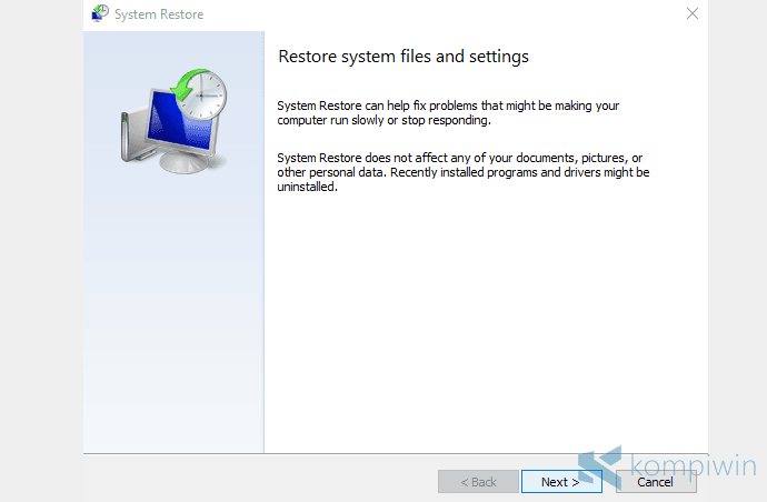 membuat system restore point
