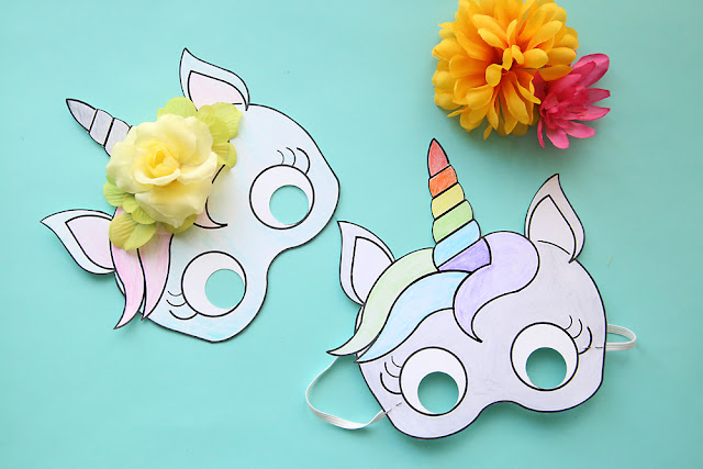 Unicorn Mask Free Printable Template.