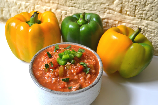 Vegetarian Stuffed Bell Pepper Soup- flavorful and hearty. Uses whole-grain brown rice for more fiber and is perfect for a chilly day.
