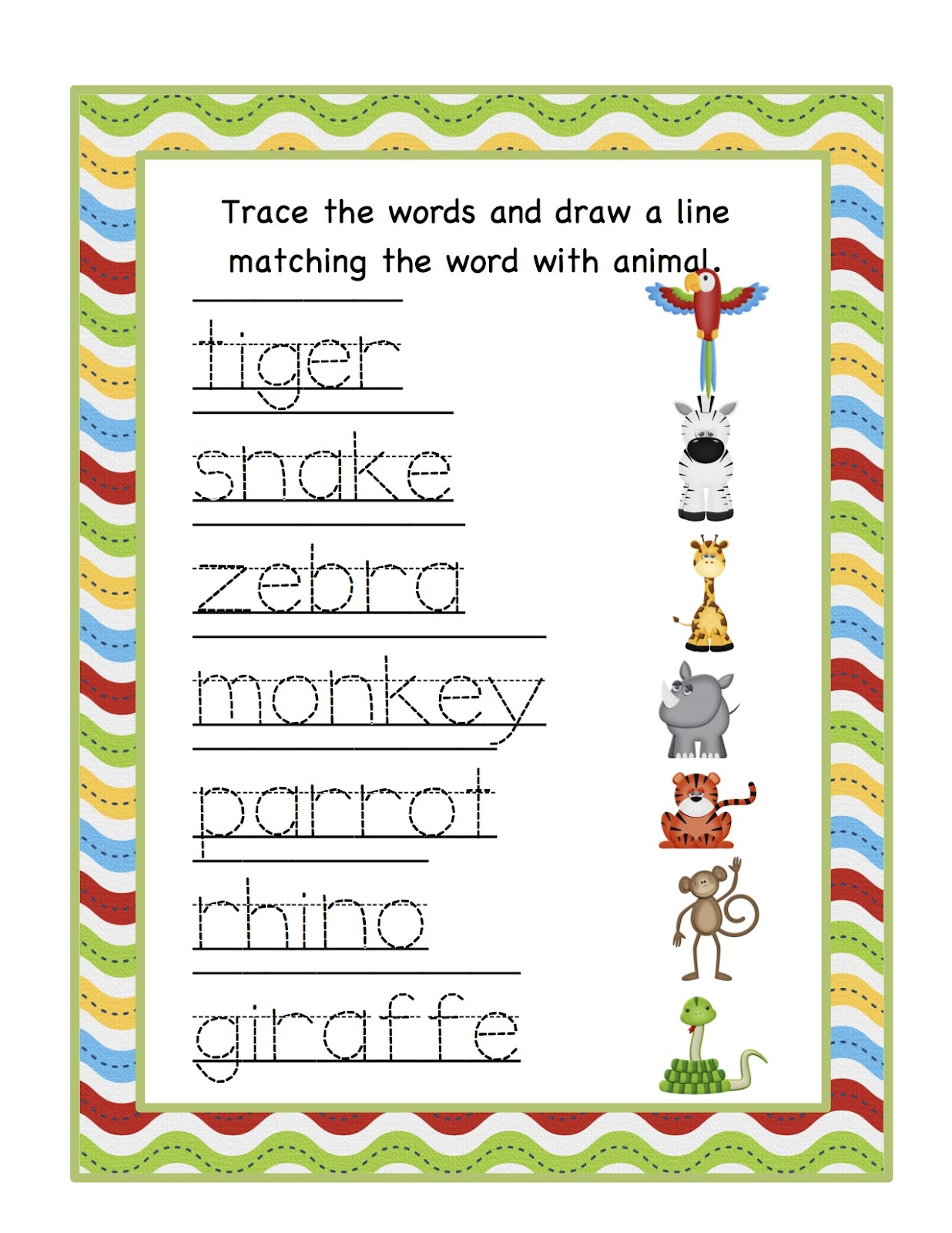 Free Preschool Jungle Worksheet
