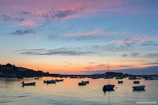 Hugh Town harbour sunset