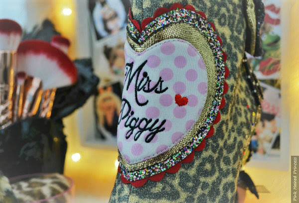 Miss Piggy polka dot embroidered heart detail on front of boot