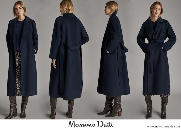 Meghan Markle wore Massimo Dutti handmade navy blue wool coat