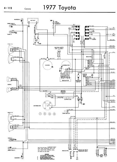 repairmanuals: Toyota Corona 1977 Wiring Diagrams