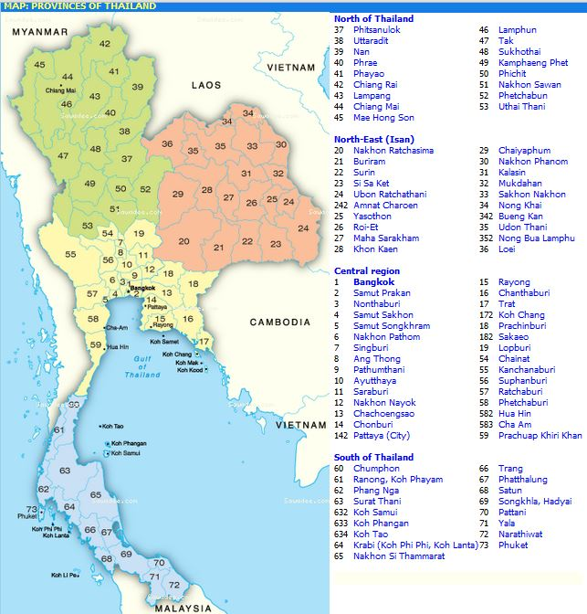 map of Thailand provinces