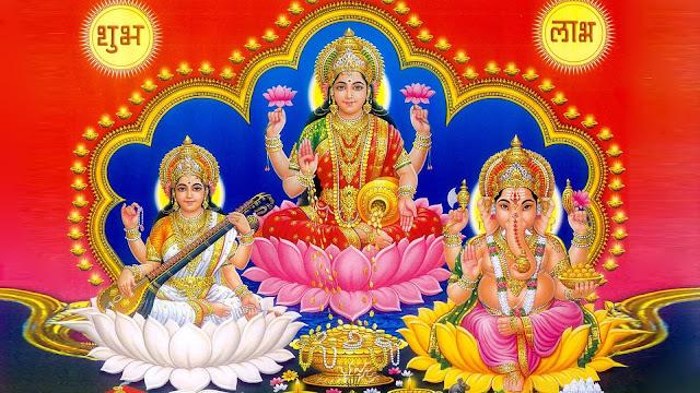 Best Lakshmi & Ganesha With Maa Saraswati HD Wallpaper
