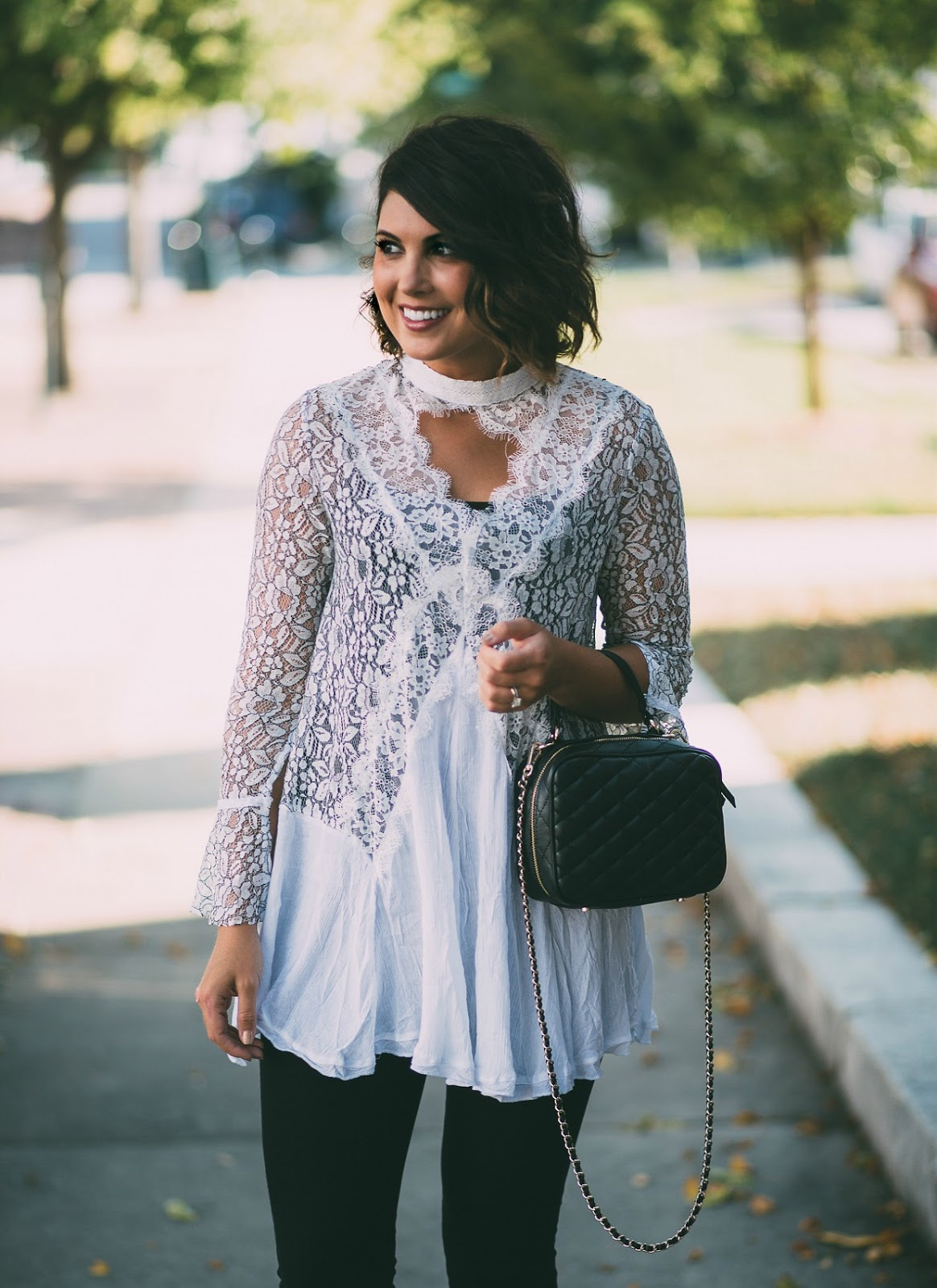 free people lace tunic, zara quilted crossbody, zara quilted top handle bag