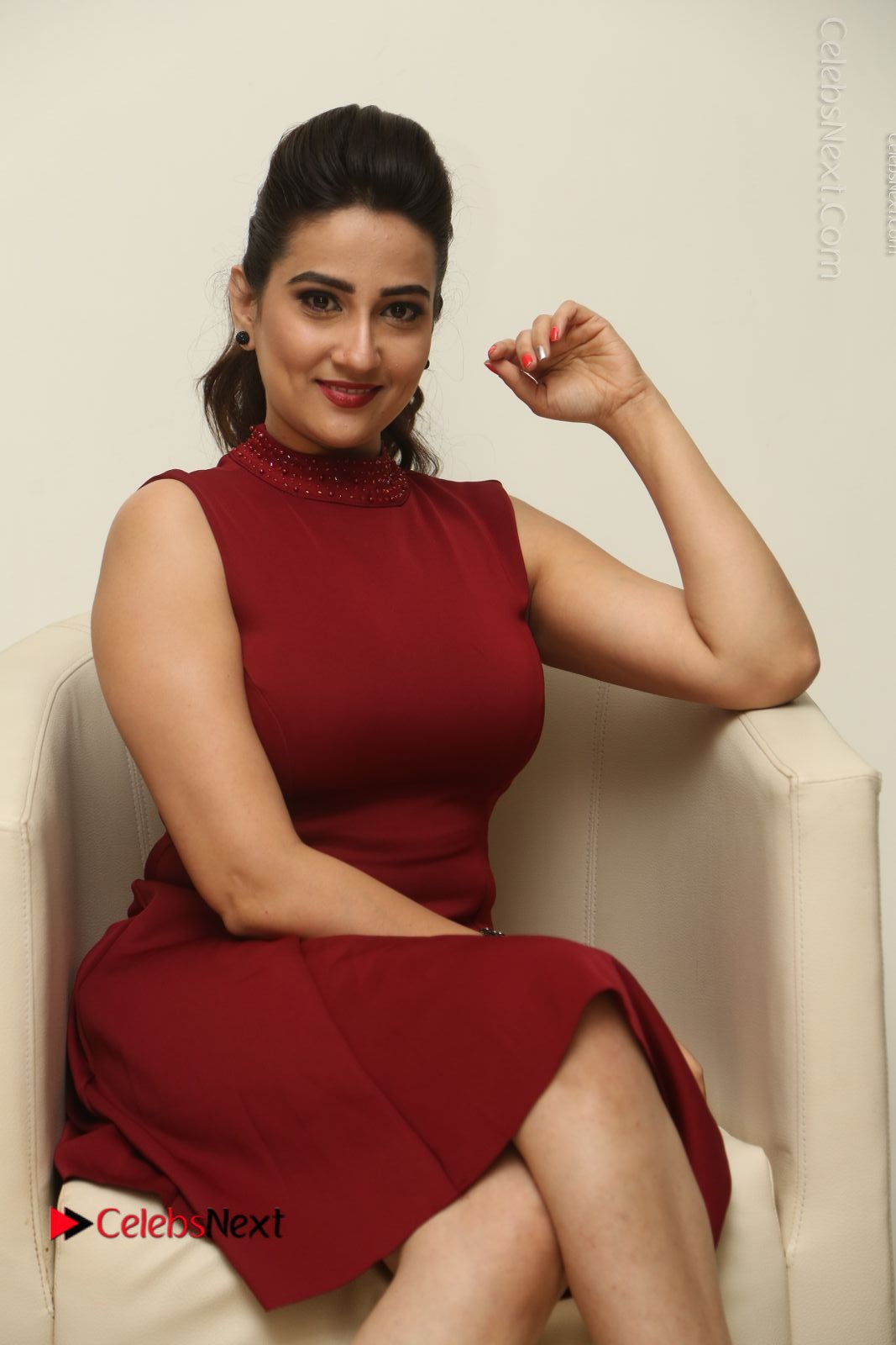 Manjusha Latest Photos in Red Short Dress
