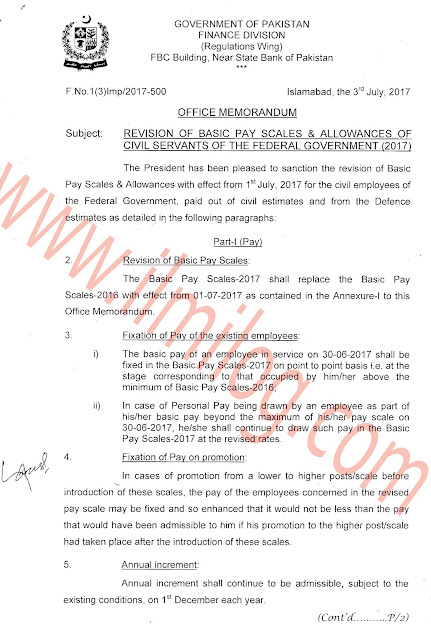 Notification-of-Revision-of-Basic-Pay-Scales-2017-and-Allowances-of-Civil-Servants-Federal-Govt