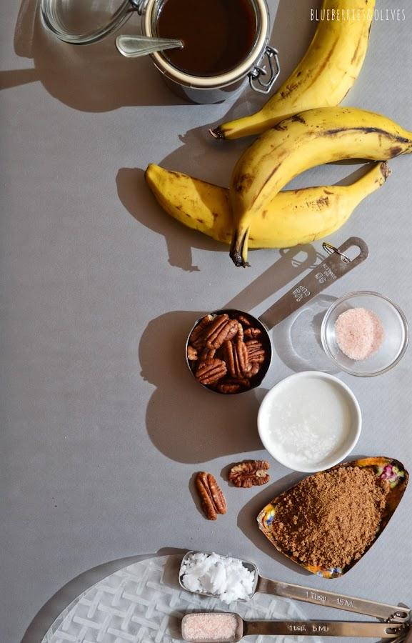 INGREDIENTES PARA RECETA DE ROLLITOS BANOFEE, PLATANO, CARAMELO, NUECES, NATA (crema de leche)