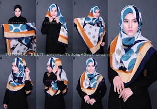 Tutorial hijab segi empat motif untuk bekerja