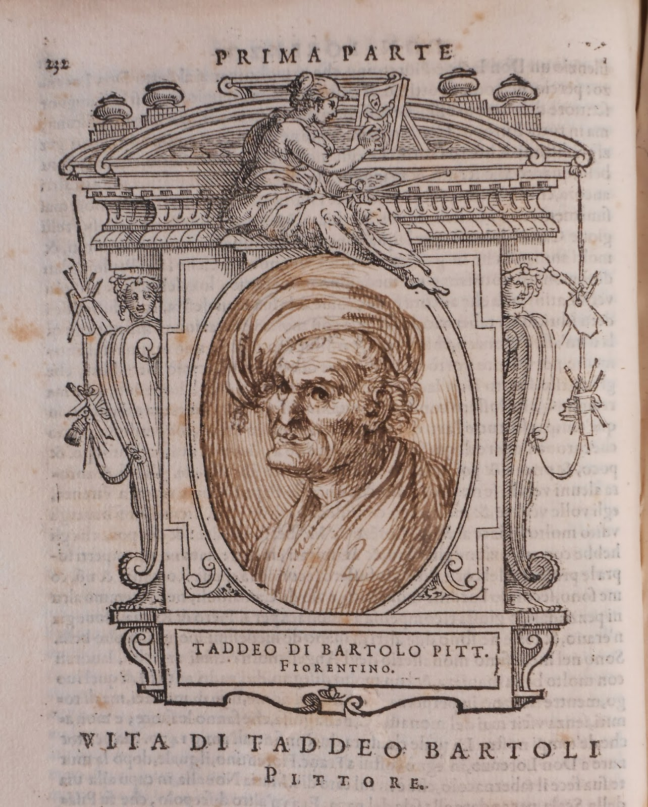 A medallion frame containing a pen sketch of an older man in a hat.