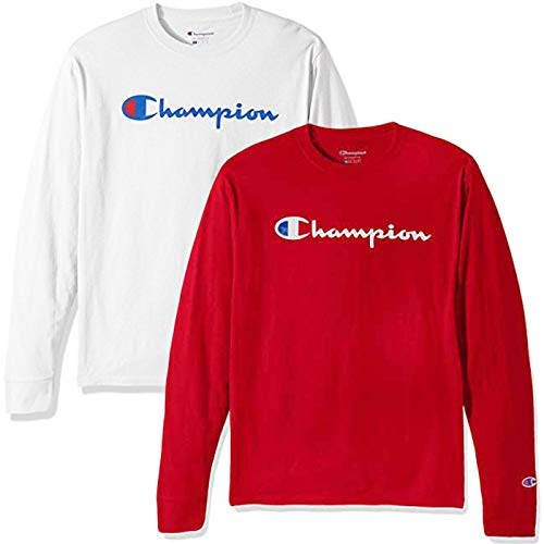 8632ded6 Champion Men's Classic Jersey Script T-Shirt, Long Sleeve-2 Pack (White and  Red LS, Medium) 2019