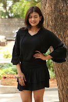 Actress Hebah Patel Stills in Black Mini Dress at Angel Movie Teaser Launch  0047.JPG