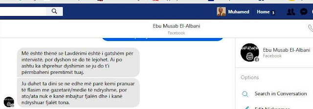 Muhamed Veliu and Ebu Musab Al-Albani communication