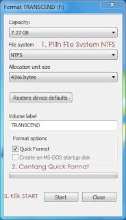 merubah file system flashdisk menjadi NTFS