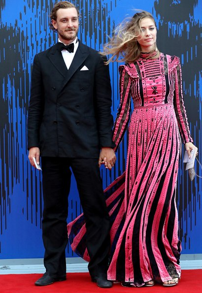 Beatrice Borromeo wore Valentino embellished pleated silk dress at at the 74th Venice Film Festival. Pierre Casiraghi