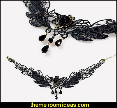 Black Rose Flower Lace Gothic Lolita Beads Pendant Choker Necklace