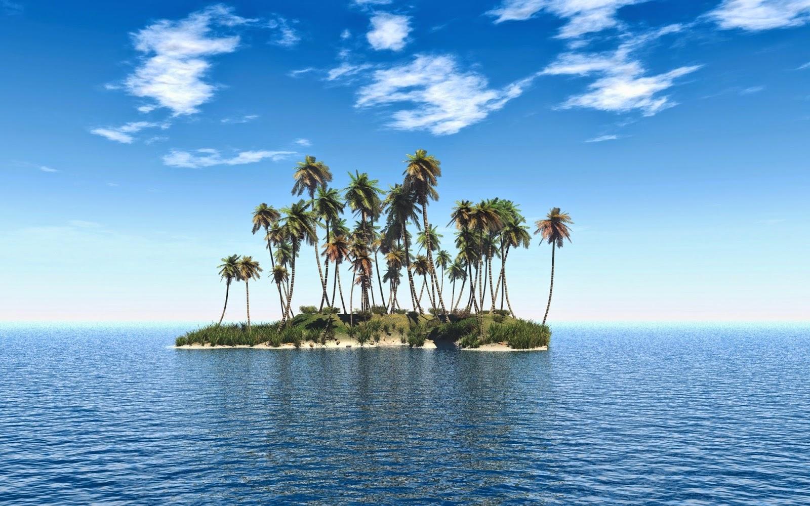 3D Wallpaper met eiland in zee
