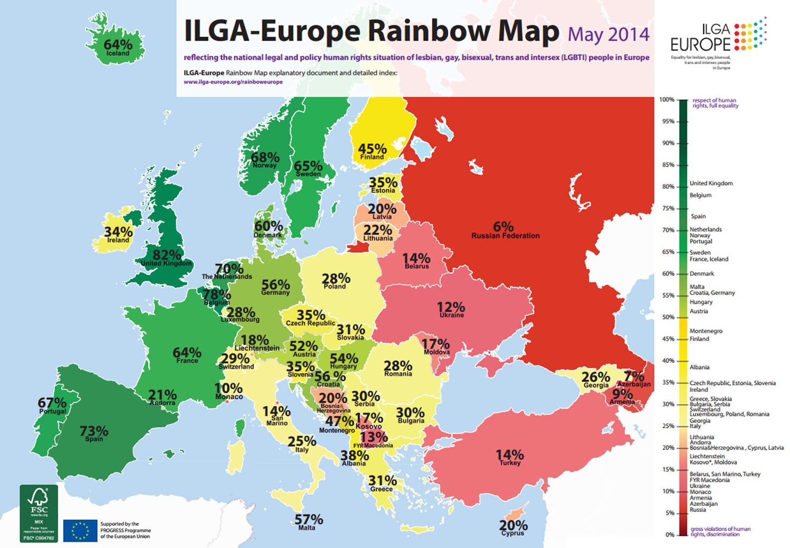 Europe rainbow map